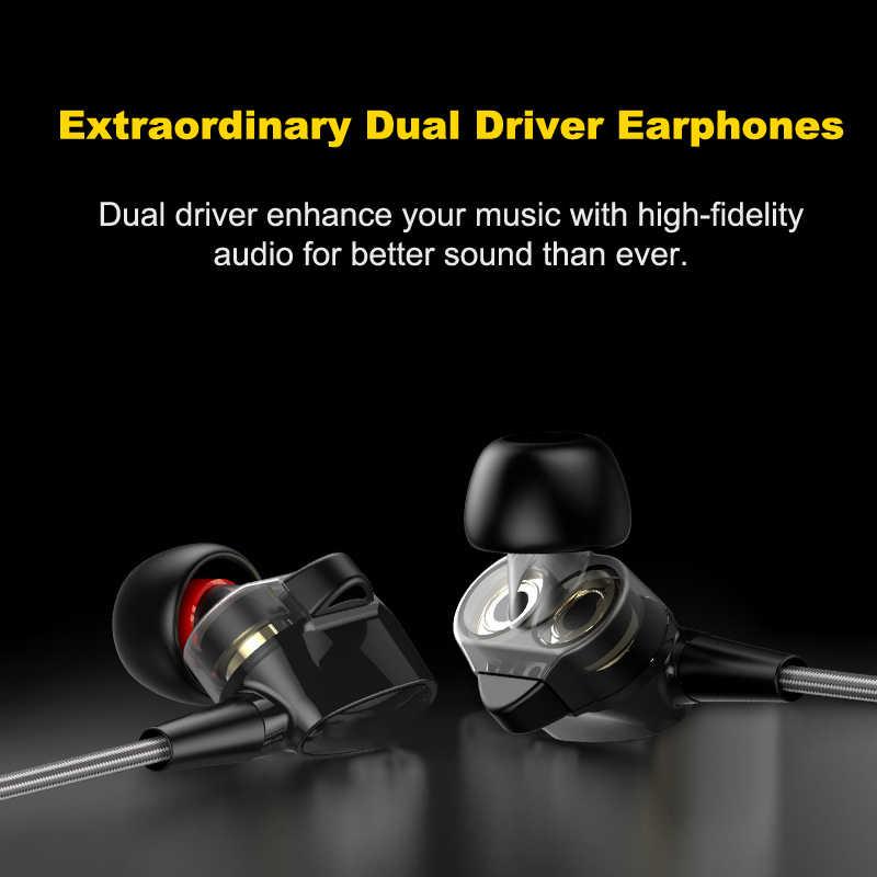 Duszakeステレオ低音ヘッドフォンインイヤー3.5ミリメートル有線デュアルドライバイヤホンメタルhifi用のマイク付きxiaomiサムスン電話