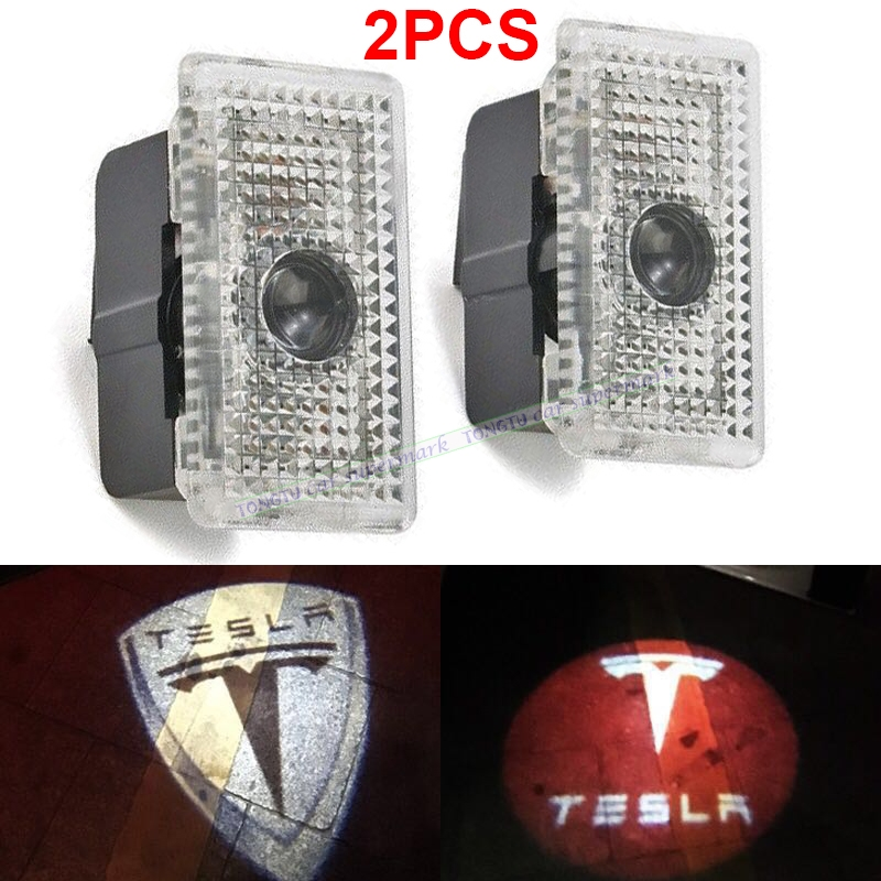 2Pcs Car Logo Light 3D Car Welcome Light LED Door Light for Tesla MODEL S MODEL X3 Ghost Shadow light ghost light