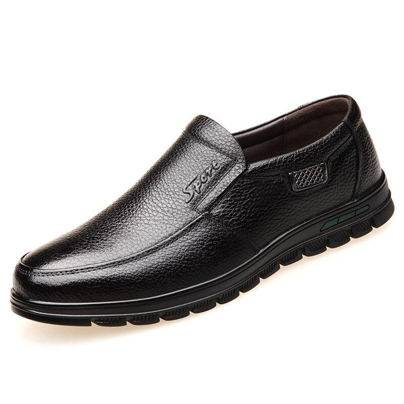 Cuero Casuales Directo Modelos Papá Y Explosión Conjunto Hombres Cabeza Fábrica Pie Natural black De Redonda Brown Zapatos Luz Los ff1APwFqx