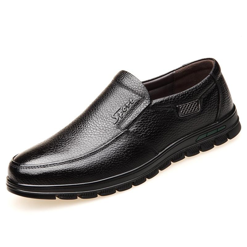 Chaussures Tête Modèles En De Directe Naturel Casual Usine Ensemble Pied Explosion Cuir Hommes Lumière Et Confortable Papa Ronde Brown black N80nwvmO