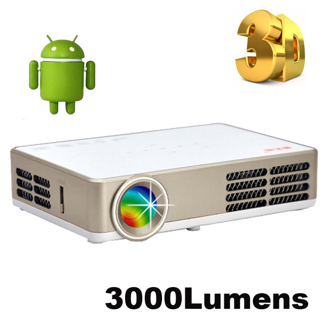 Buy 3000lumens android 4 4 dlp 3led for Small projector wireless