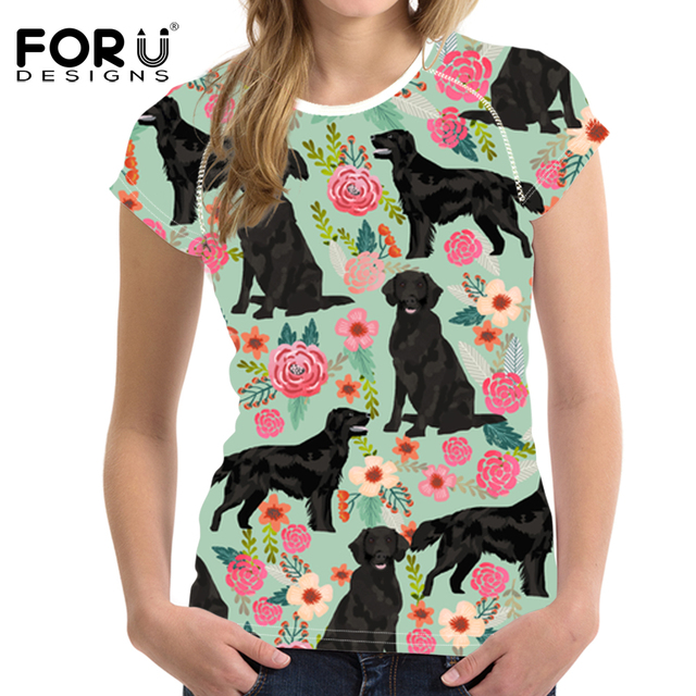 7c93bef8f694 FORUDESIGNS Floral Rottweiler Dog Print T Shirt for Women Cartoon Pattern Funny  T-shirt for Teen Girls Fresh Style Kawaii Cloth