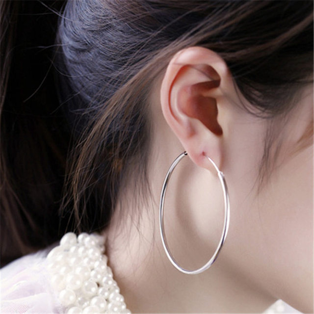 f3261cc0a LNRRABC Women Exaggerated Small Big Circle Silver Round Earrings Party Gold  Color Hoop Earring Fashion Fashion