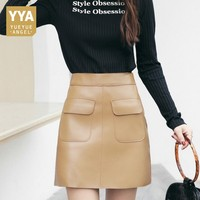 Spring Summer Womens Casual A Line Skirt 100% Real Leather Skirts Club Party Office Lady Clothes Fashion 2020 Sexy Skirts Skinny