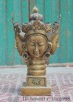 Свадебные украшения 19 Старый китайский бронзовый четыре Уход за кожей лица kwan Инь Гуаньинь головы Будды печать штамп перстень