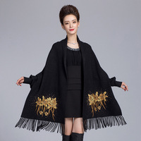 Women Bling Faux Crystal Cape With Sleeve Embroidery Floral Artificial Cashmere Shawls Scarves Winter Warm Tassels Wrap Pashmina