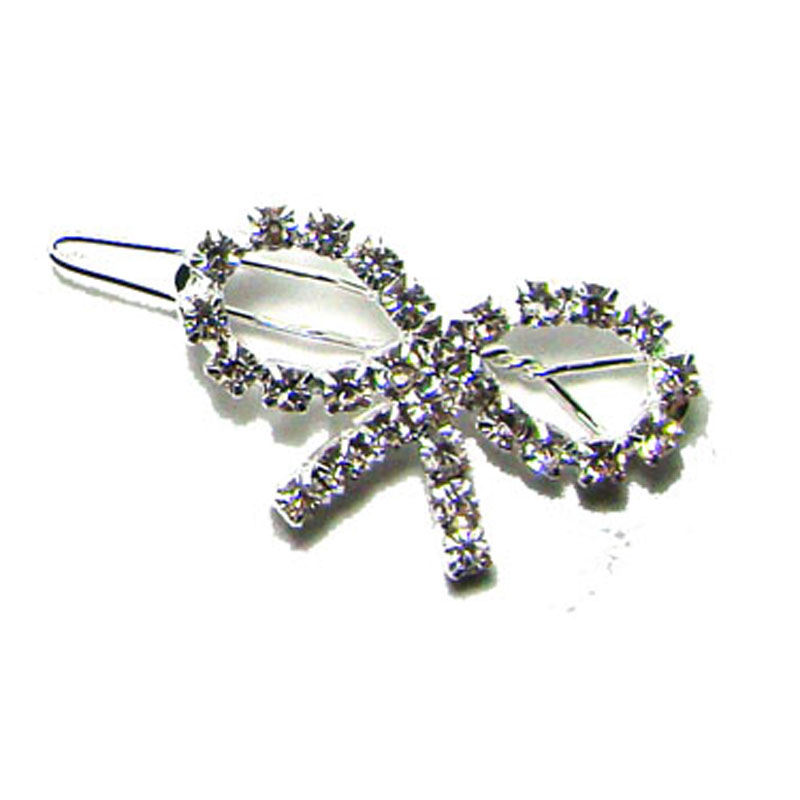 New 35x20mmfancy rhinestone ribbon bow charm new hinge clip hair barrette wedding ornament jewelry accessory 1DZx