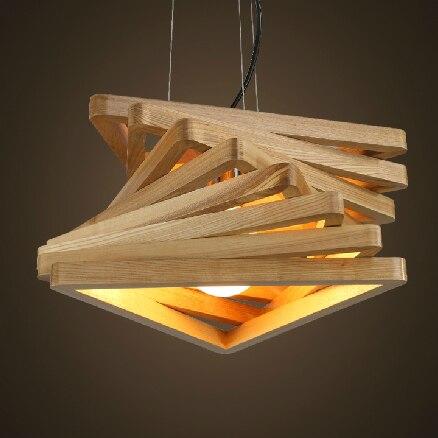 US $88.36 6% OFF|Kreative design licht spirale holz anhänger licht holz  esszimmer halle hängen lampen holz rustikale leuchte wohnzimmer-in ...