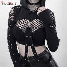 InstaHot Black Cold Shoulder Hooded Hoodies Women Gothic Sexy Autumn Long Sleeve Crop Tops Lady Cool Chain Fashion Clothes Loose instahot hoodies floral embroidery dark black gothic punk velvet flare long sleeve cheongsam dress chinese style casual autumn
