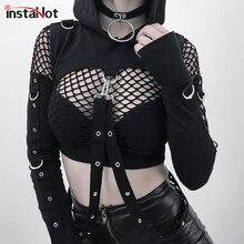 7f0049157 InstaHot Preto Ombro Frio Com Capuz Hoodies Mulheres Gothic Sexy Outono Manga  Comprida Cortar Tops Lady Cadeia de Frio Moda Roup.