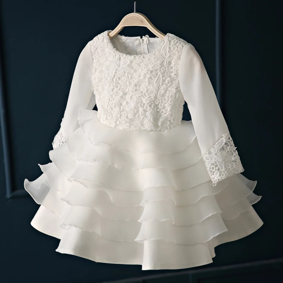 IMT006 E-Marry Fashion Ruffle Long Sleeves   Flower     Girls     Dress   2017 Lace Ball Gown   Flower     Girl     Dress   For Wedding Party