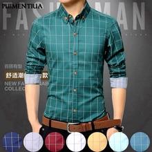 Pui men tiua 5XL Клетчатая Мужская рубашка с длинным рукавом, формальная Мужская рубашка с отложным воротником, мужская деловая одежда, модные Лоскутные Рубашки, Топы