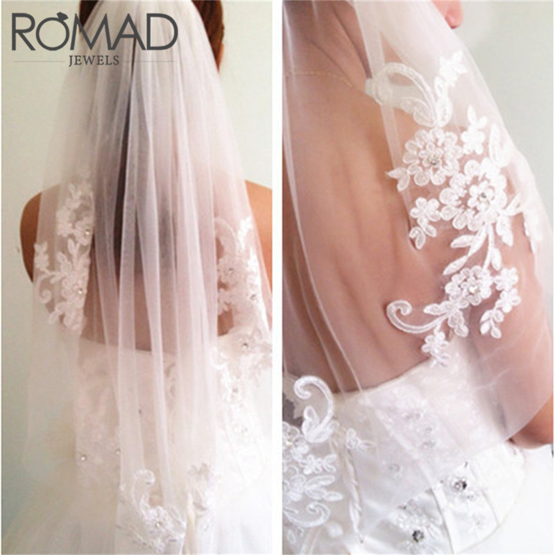 Apparel Accessories Discreet Romad Wedding Veil Bridal Veils Velo De Novia In Stock Short One Layer Waist Length Beaded Diamond Appliqued White Or Ivory R4 Vivid And Great In Style