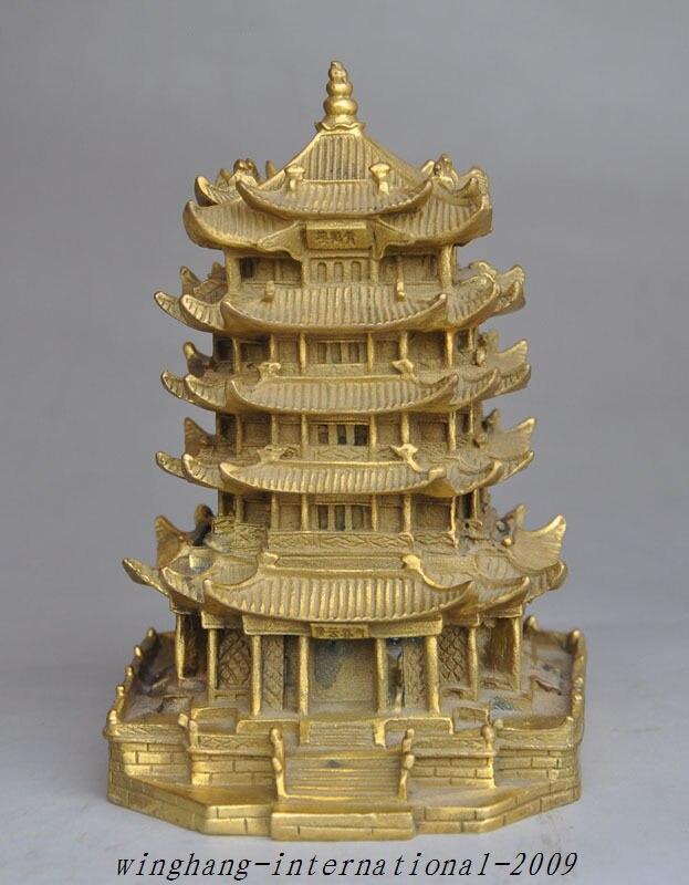 Noël chinois en laiton célèbre pittoresque spot jaune grue tour pagode maison bâtiment Statue halloween