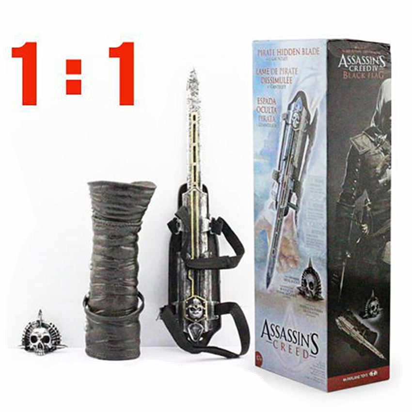 1:1 Pirate Hidden Blade Toys Edward Kenway Cosplay Action Figure Model Kids Toys For Birthday Gifts Movie Props Hidden Weapon