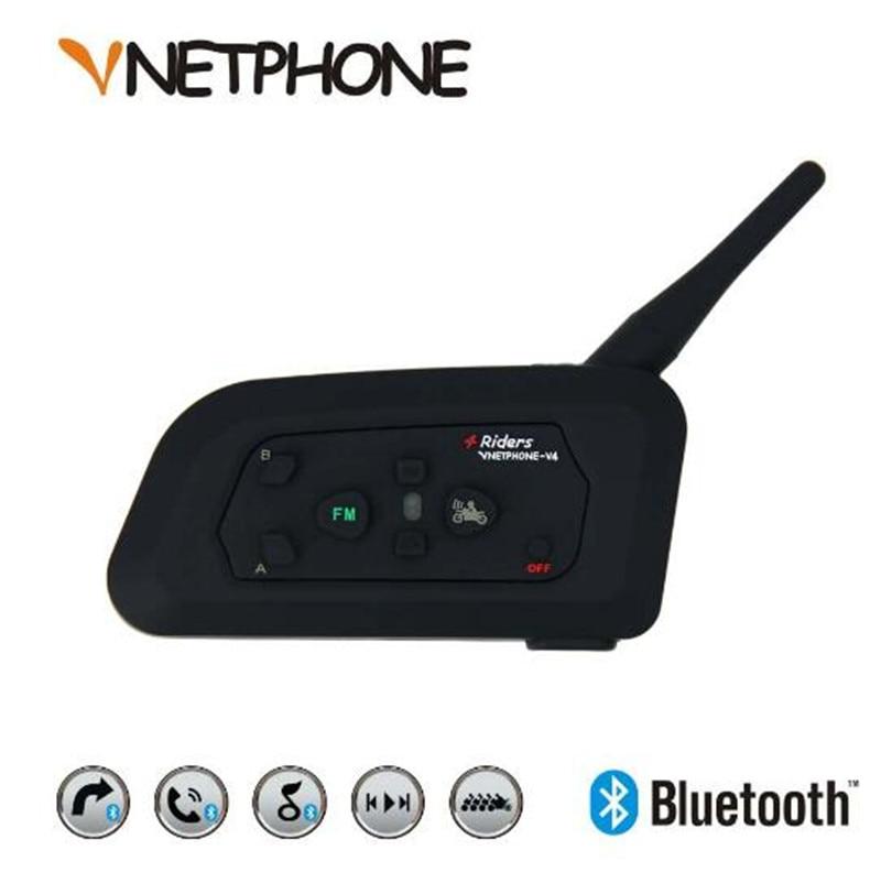 Vnetphone V4 1200 m Moto Bluetooth Interphone Casque Biker Interphone 4 Coureurs Casque Haut-Parleur Interphone pour KTM ls2 arai Barre