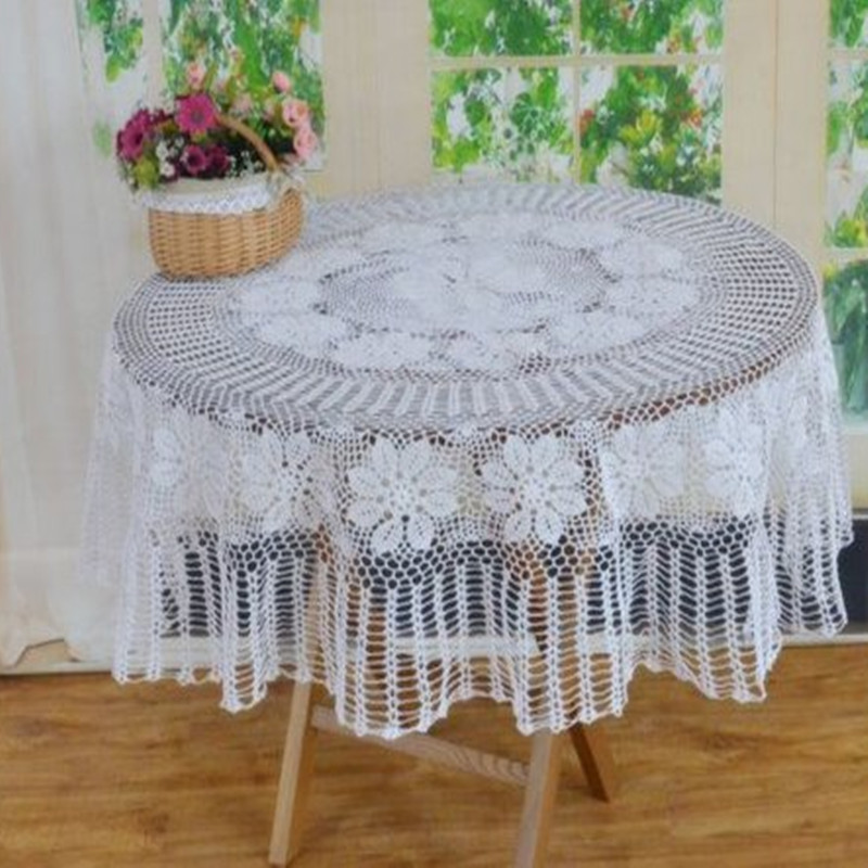Hand crochet round white table cover, Handmade round floral starched tablecloth country living round table topper for home deco