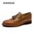 Los hombres Zapatos de Cuero Marrón Oxfords Punta estrecha Pisos Resbalón En los Zapatos de Vestir de Boda Negro Borla de La Manera de Adultos de Tamaño de Calzado 38-44