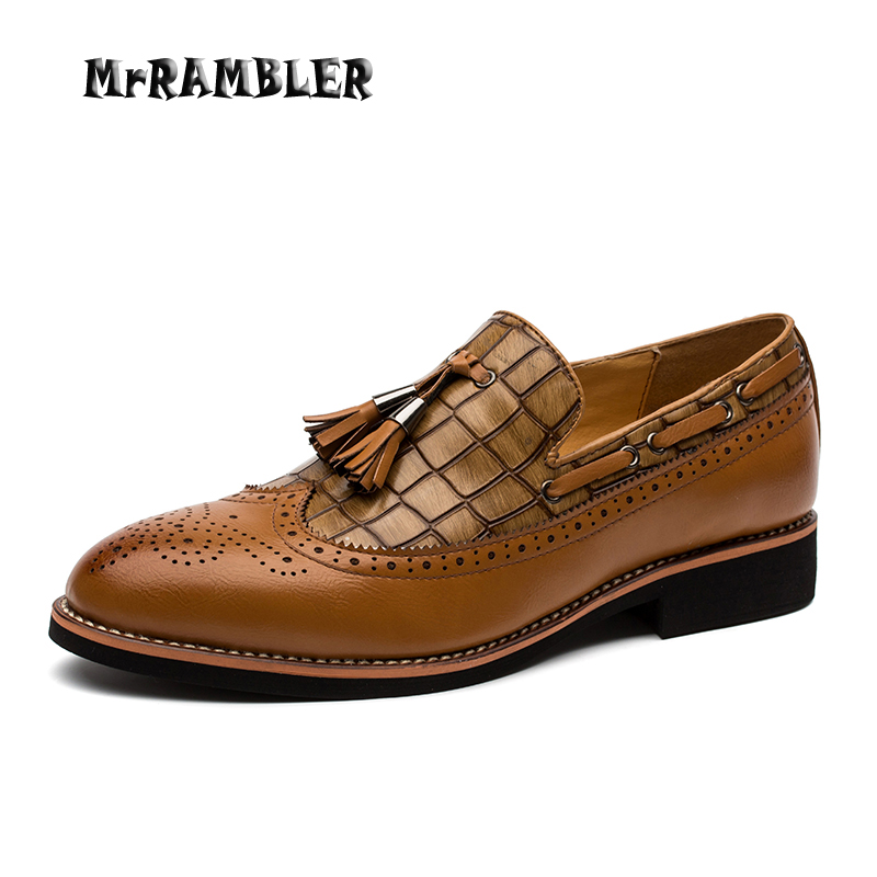 Men Leather Shoes Brown Oxfords Pointed Toe Slip On Wedding Dress Shoes Black Flats Fashion Tassel Adult Footwear Size 38-44 men fashion oxfords pointed toe retro