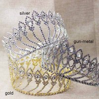 zerongE jewelry 3.2inch Pageant Beauty Contest peacock full Crown Full Circle Round crown Crystal girl's prom round crown