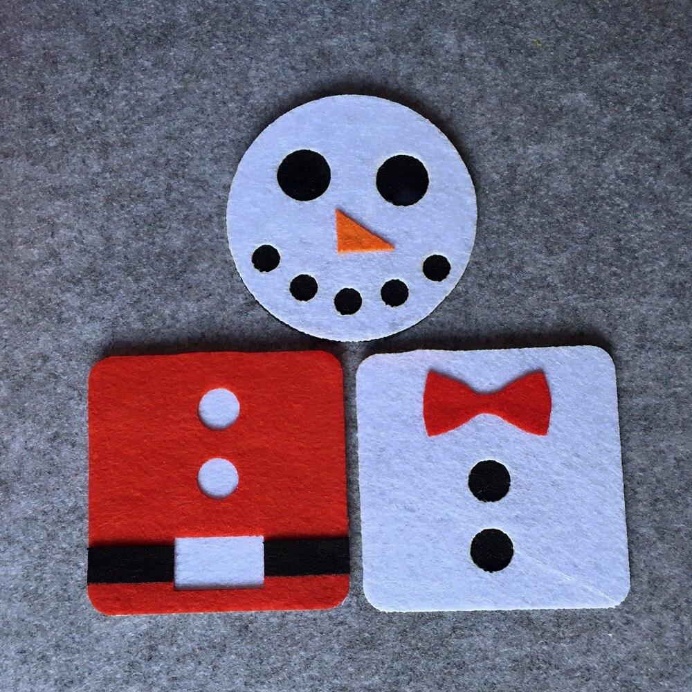 6pcs christmas Pendant decorations for home Santa Claus Snowman Square Felt Coaster Cup mats Cartoon Pad supply fabric