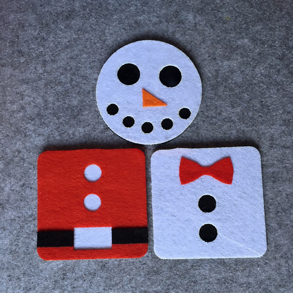 Freeshipping  6pcs Christmas Santa Claus Snowman Square Felt Coaster Cup mats Cartoon Pad supply