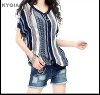 2014 Office Ladies Casual Brand Knitting Hollow Out Blouse Short Sleeve V Neck Knitwear Loose Shirt