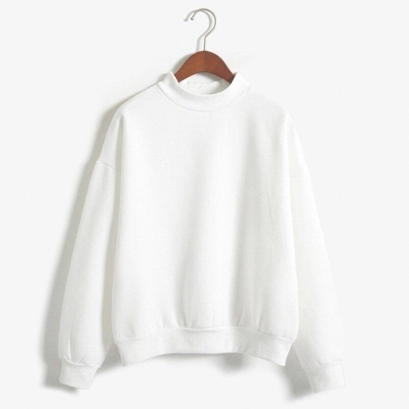Women's Long Sleeve Turtleneck White Black Hoodie Pullover Sweatshirts Female Jumper Tops Ladies Tracksuits Streetwear Clothes