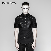 PUNK RAVE Men Fashion Handsome Gothic Tshirt Punk Rock Leather Military Short Sleeve Summer Cool Tops T Shirt Hip Hop Streetwear