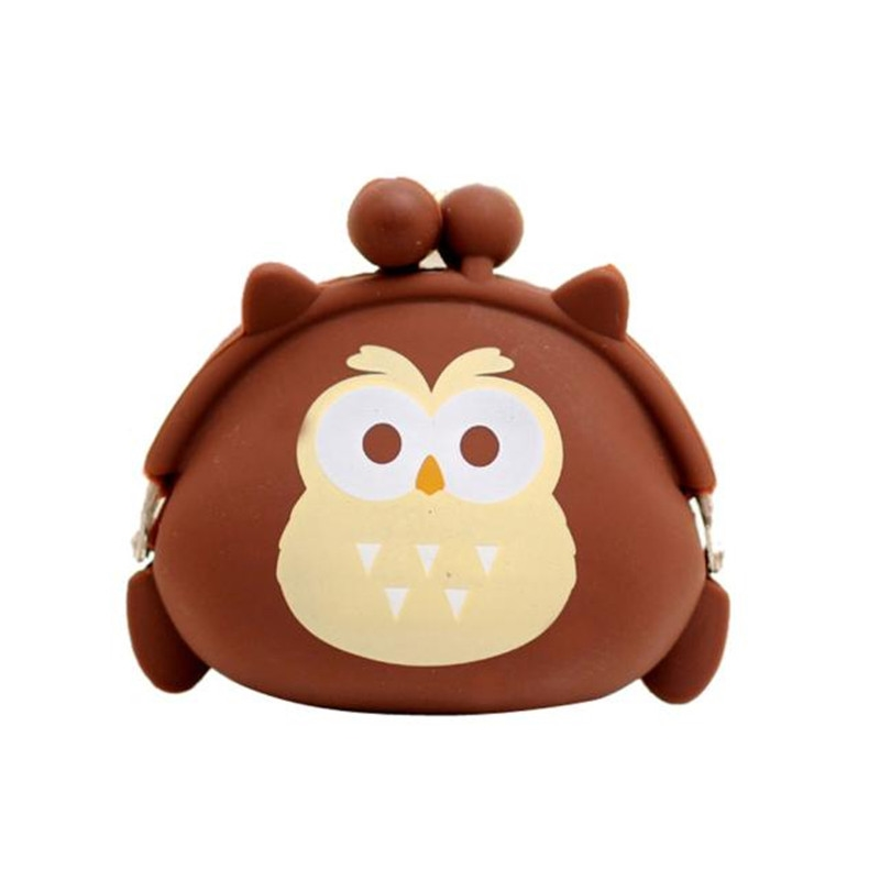 Women Girl Cute Owl Silicone Jelly Hasp Coin Purse Wallet Fashion Small Change Bag Ladies Key Pouch Coin Purses carteira