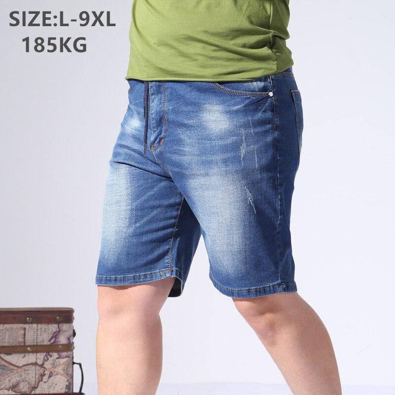 Denim Shorts Mens Casual Half Trousers Loose Summer Cotton Blue Plus Size 5XL 6XL 7XL 8XL 9XL Oversized Male Men Jeans Short