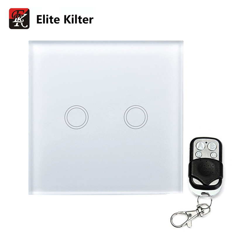 Elite Kilter Touch Switch 2 Gang Wall Touch Switch Luxury Glass Panel Remote Control EU/UK Standard elite kilter touch switch 1 gang 1 way eu uk standard crystal glass switch panel smart touch wall light switch ac 170v 240v