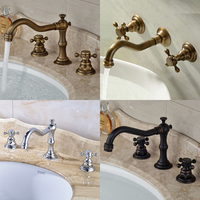 Wholesale And Retail Widespread 3pcs Bathroom Basin Faucet Dual Handles Mixer Tap Deck Mounted