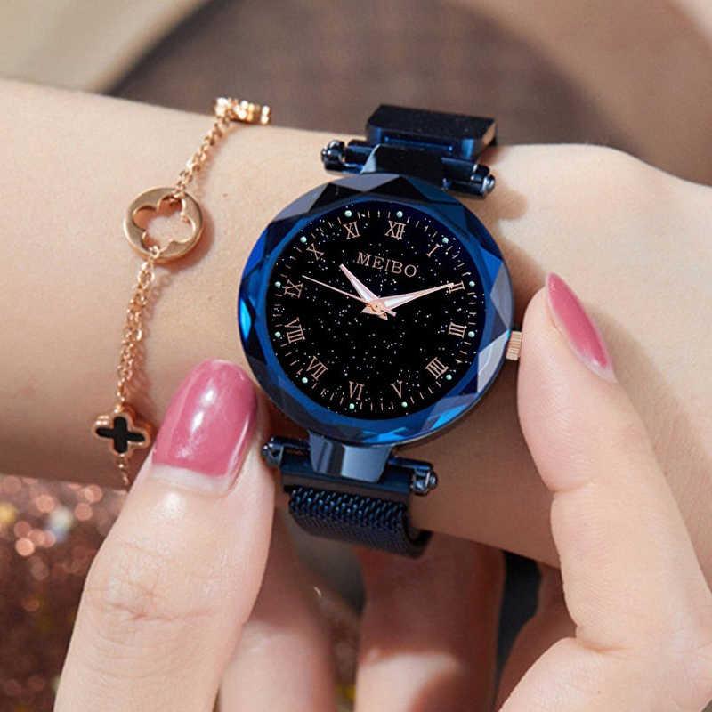 Reloj de pulsera de cuarzo luminoso con correa de malla magnética para mujer