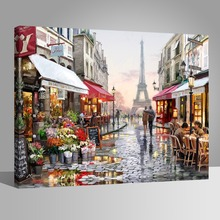 WONZOM Street Scenery Paint By Numbers Home Decor Lover Oil Painting On Canvas With Frame Wall Art For Living Room Acrylic