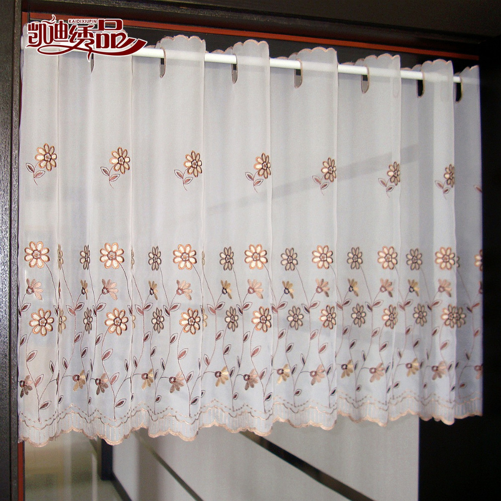 new british white half curtain embroidered window valance custom size translucent coffee curtains for kitchen - Custom Kitchen Cabinets Prices