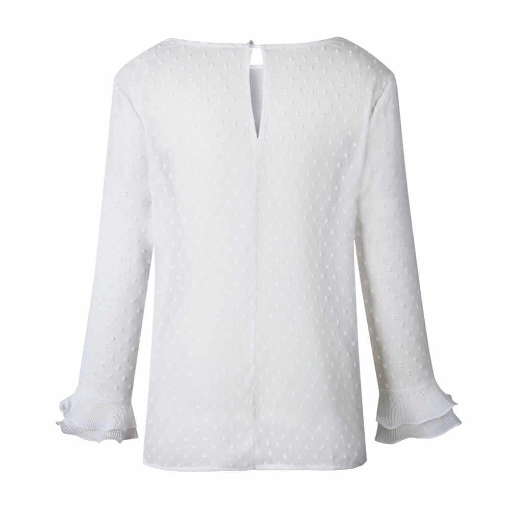 # H5 Wanita Kasual Renda Polka Dot O Leher Kemeja Lengan Panjang Atasan Blus Wanita Pakaian Top