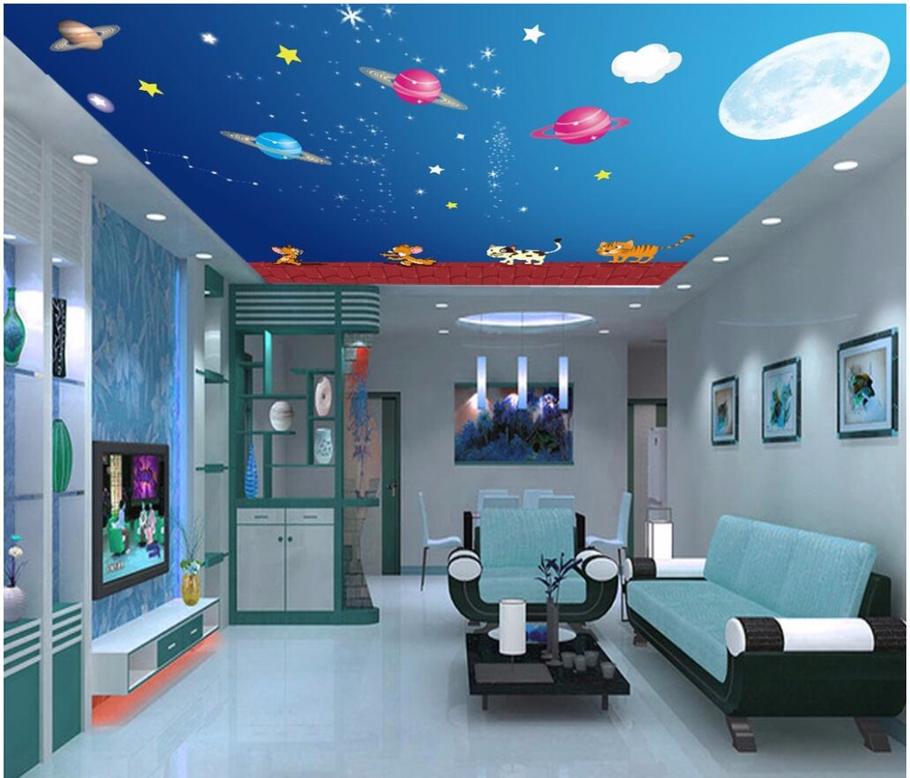 Custom photo 3d ceiling murals wallpaper Cartoon roof cats and dogs sky planet painting 3d wall murals wallpaper for living room 3d ceiling murals wallpaper aurora zenith living room ceiling mural custom photo murals wallpaper 3d ceiling