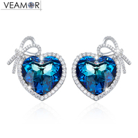 Veamor Real Silver 925 Love Heart Stud Earrings For Women Blue Crystals From Swarovski Bowknot Earring