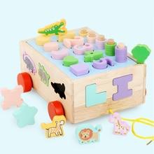 Купить с кэшбэком Baby Toys Kids Trailer Wooden Train Vehicle Blocks Geometry/Colour Congnitive Blocks Child Education Birthday/Christmas Gift