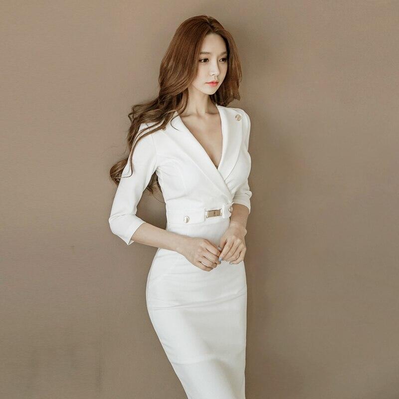Sottile Vestiti Modo Autunno Sexy Aderente Di maniche Lunghe Bianco Split Lady Coreano 2018 Half Nuovo Vestito Donne Office Costumi Europeo Delle 0xAr0nwqf