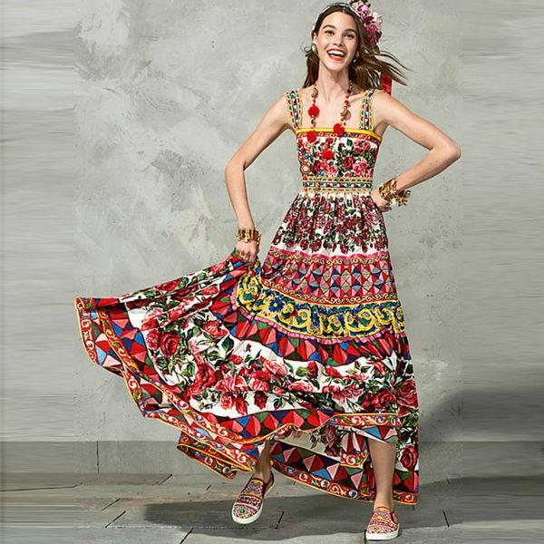 Duga haljina visoke kvalitete 2018 Ljeto Nova ženska modna zabava Boho Beach Vintage Elegantni šik print rukava majica