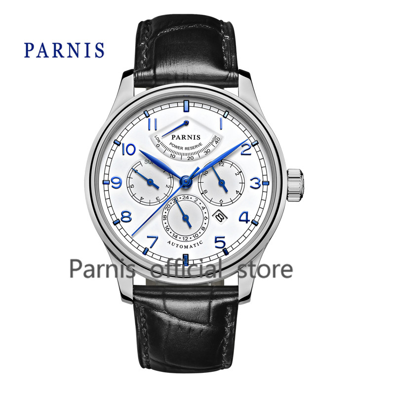 Casual 43mm Parnis Automatic Power Reserve White Dial Blue Numbers Black Genuine Leather Watch Band Business Watches Men  casual 43mm parnis automatic power reserve white dial blue numbers silver watch case business watch men