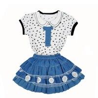 עיצוב חדש שפירית קיץ בגדי ילדים ילדה חצאית ג 'ינס הדפסי חולצה + תחרה להגדיר ילדים חמודים שתי חתיכה roupas דה menina