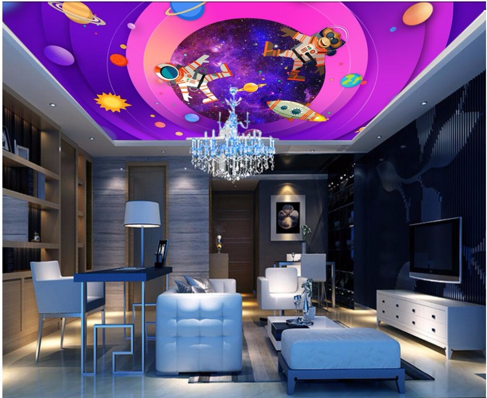 Custom photo 3d wallpaper ceiling mural Space cosmic galaxy decoration painting 3d wall murals wallpaper for walls 3 d custom 3d ceiling photo wave dolphin 3d ceiling murals wallpaper home decor wallpaper on the ceiling papel de parede