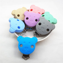 Купить с кэшбэком Chenkai 10PCS BPA Free Silicone Bear Pacifier Dummy Teether Chain Holder Clip DIY Baby Soother Nursing Toy Clips Accessories