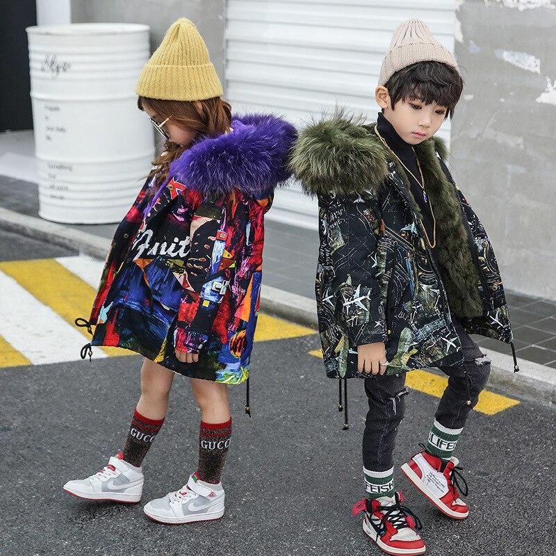 Filles garçons vraie fourrure Parka Graffiti hiver chaud veste enfants vêtements naturel raton laveur fourrure capuche manteau réel lapin fourrure doublure TZ373