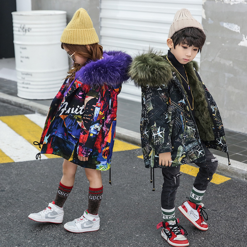 Girls Boys Real Fur Parka Graffiti Winter Warm Jacket Children Clothes Natural Raccoon Fur Hood Coat Real Rabbit Fur liner TZ373