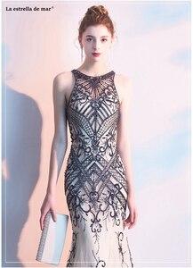 Image 5 - Abendkleider lang, новинка, тюль, кристалл, роскошное шампанское, сексуальное, Русалка, турецкое вечернее платье, роскошное, vestido longo festa noite custo