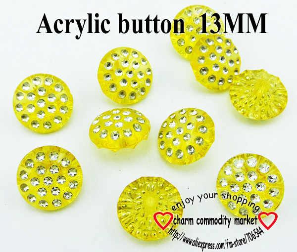 100 ADET 13 MM sarı Akrilik Rhinestone düğmeler ceket bot dikiş giysi aksesuarları 10-080-R
